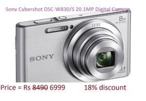 Sony Cybershot DSC-W830/S 20.1MP Digital Camera ( Silver) with 8x Optical Zoom, Memory Card on amazon freedom sale