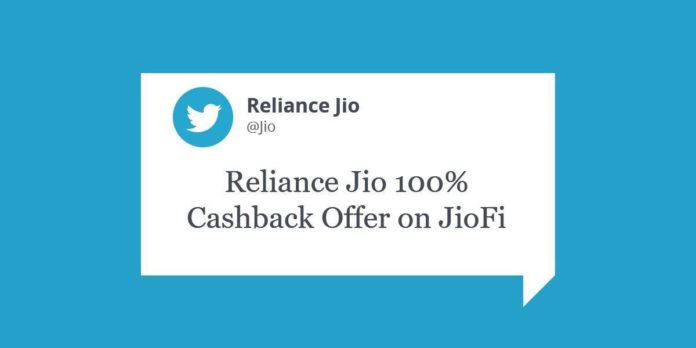 Reliance Jio 100% Cashback Offer on JioFi