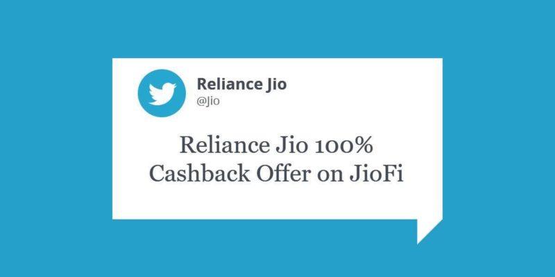 Reliance Jio 100% Cashback Offer on JioFi