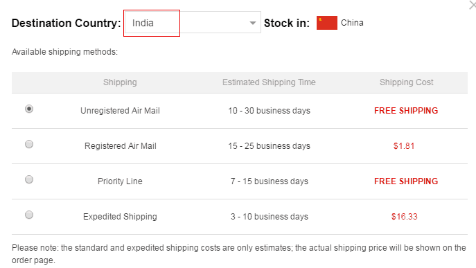 gearbest shipping charges in India