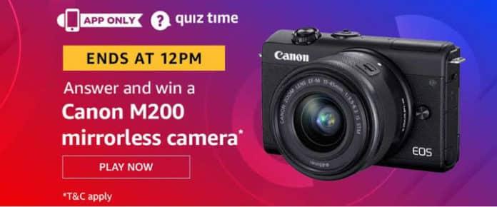 Amazon Quiz Answers Win Canon M200 Mirrorless Camera