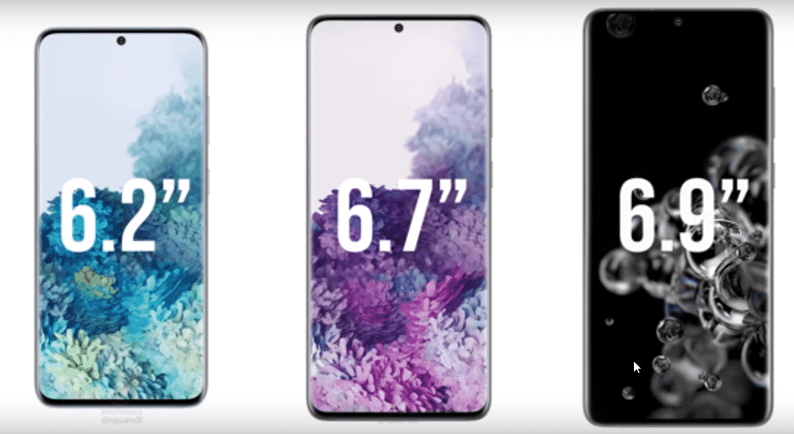 Samsung Galaxy S20, S20 plus and S20 ultra Display