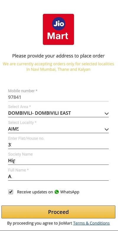 JioMart Whatsapp Order Details