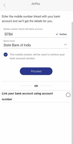 Configure Jio AutoPay using Bank Account