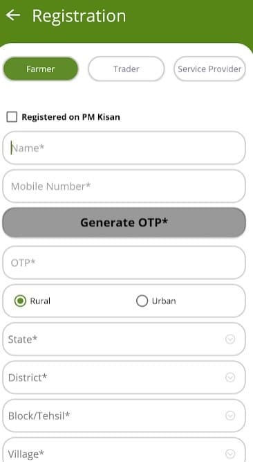 Kisan Rath App Farmer Registration