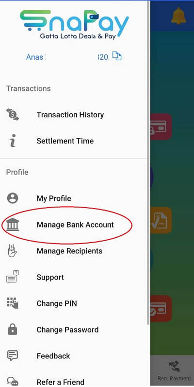 SnaPay Update Bank Account