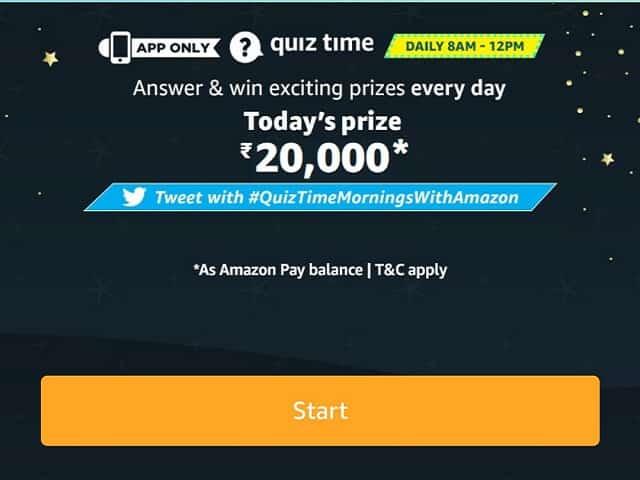 Amazon Quiz Answers - Win ₹20,000