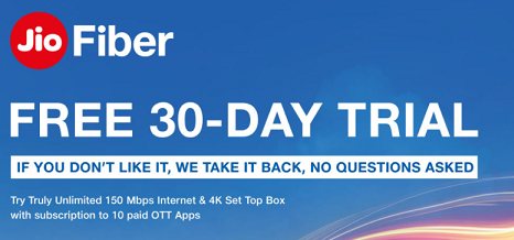 JIO 30 Days Free Trial Offer