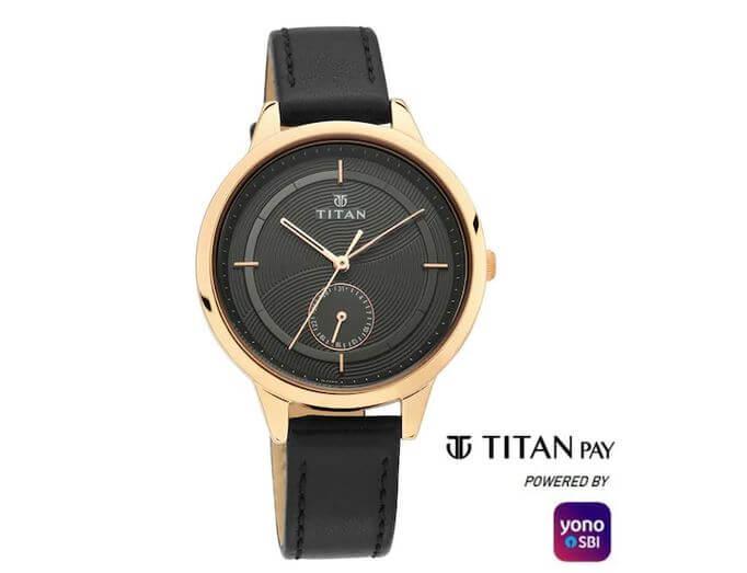 Titan Pay Watch Golden & Black Dial
