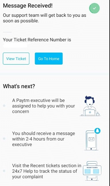 paytm bank account request ticket number