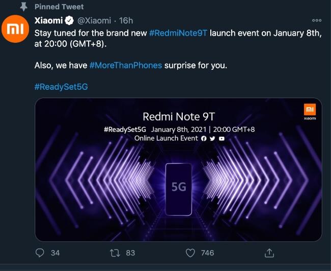 Xiaomi Redmi Note 9T launch date